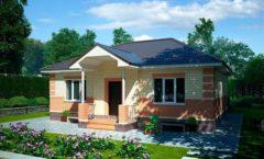 Проект одноэтажного кирпичного дома.  Площадь - 80 кв.м